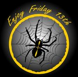 Friday 13th, elegant badge with spider crusader, cobweb in yellow circle on black gradient background. Vector EPS 10 vector illustration