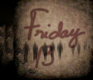 Friday the 13th. Friday 13 grunge illustration background with mysterious defocused people Royalty Free Stock Images