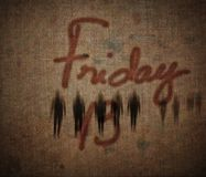 Friday the 13th. Friday 13 grunge textured illustration background with mysterious defocused people Royalty Free Illustration