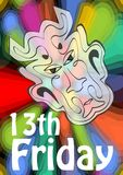 Friday 13th, 13 Friday, unlucky day with devil head on psychedelic colorful background. Devil symbol of evil and misfortune. Terrible devil head Royalty Free Stock Images