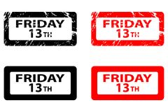 Friday the 13th. Grunge rubber stamp - black and red, Friday thirteenth, Friday 13 - sticker Stock Illustration
