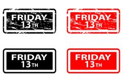 Friday the 13th. Grunge rubber stamp - black and red, Friday thirteenth, Friday 13 - sticker Stock Image