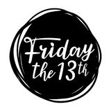 Friday the 13th. Hand drawn typography lettering poster for social media, sites, party decorations Royalty Free Stock Photos