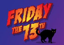 Friday the 13th. An illustration of cat and Friday the 13th Stock Photos