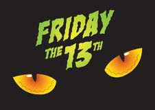 Friday the 13th. An illustration of cat`s eyes and Friday the 13th Stock Photography