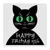 Friday 13th, red banner with black cat silhouette cartoon. Royalty Free Stock Image