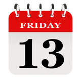 Friday 13th. On  red calendar page Stock Images