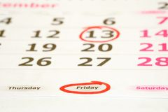 Friday the 13th. Red marked on a calendar concept for an important day royalty free stock images