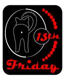 Friday 13th, satiric badge with black cat turned back, line drawing on black background with red inscription. Vector illustration stock illustration