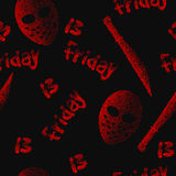 Friday the 13th seamless pattern. Vector Dotwork Stock Image