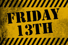 Friday 13th sign yellow with stripes Royalty Free Stock Photos