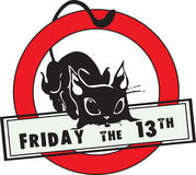 Friday the 13th. A symbol of failure - a black cat. Vector illustration Stock Photos