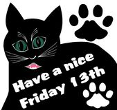 Friday 13th with thick black angry cat and two cat tracks. Vector EPS 10 Royalty Free Stock Photos