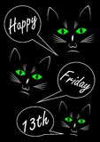 Friday 13th, three black cats on black background, text in callouts. Vector EPS 10 Royalty Free Stock Photo