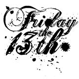 Friday the 13th type design. Stock Photos