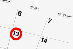 Friday the thirteenth. Calendar with friday the thirteenth circled in red Stock Photography