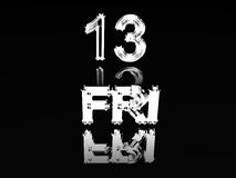 Friday the thirteenth. Friday the thirteenth in silver with reflection Royalty Free Stock Images