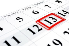 Friday thirteenth. Calendar with marked friday, thirteenth Stock Photos