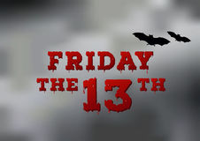 Friday the thirteenth poster with fog texture on background. Royalty Free Stock Image
