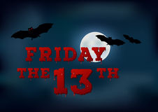 Friday the thirteenth poster on night moon sky background. Royalty Free Stock Images