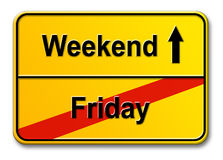 Friday-Weekend. Traffic sign Friday-Weekend isolated on white background Royalty Free Stock Photos