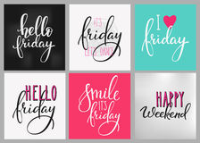 Friday Weekend lettering postcard set Royalty Free Stock Images