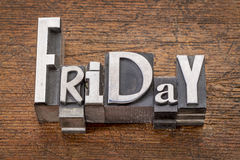 Friday word in mixed vintage metal type Stock Image