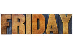 Friday word typography in wood type Stock Photography