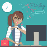 Friday Working Day. Woman Dreaming About Weekends. Stock Photo