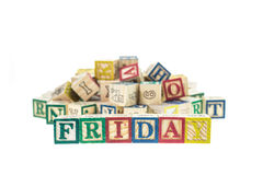 Friday written in letter colorful alphabet blocks isolated on wh Stock Image