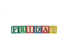Friday written in letter colorful alphabet blocks isolated on wh. Ite background Royalty Free Stock Photography