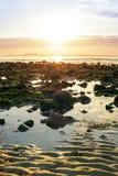 Fridfulla reflexioner på den steniga beal stranden Arkivbilder