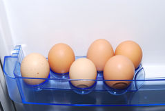 Fridge. Close shoot of eggs in refrigerator Royalty Free Stock Images