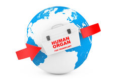Fridge Box for transporting Human Donor Organs with World Map Gl Royalty Free Stock Images