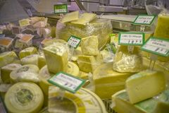 A sea of cheeses Royalty Free Stock Image