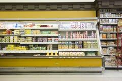 Fridge Counter In Supermarket stock photos