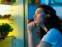 Fridge with food Stock Images