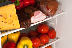 Fridge with food Royalty Free Stock Photos