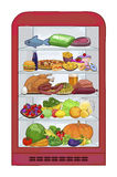 Fridge with food. The set products. Vector illustration Royalty Free Stock Image