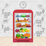 Fridge with food. The set of products, vitamins, calories. Stock Images