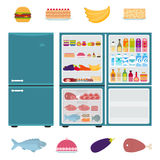 Fridge with foods Royalty Free Stock Photography