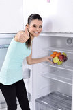 Fridge with fruit Royalty Free Stock Photography
