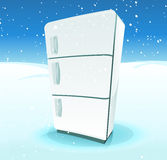 Fridge Inside North Pole Landscape. Illustration of a cartoon fridge inside cold winter north pole landscape, with snow and ice background Royalty Free Stock Photo