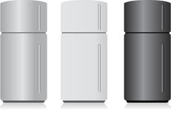 Fridge isolated on white. Different design fridges isolated over a white background white Royalty Free Stock Photo