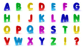 Fridge Magnet Alphabet. Alphabet in capital letters in the shape of refrigerator magnets isolated over white background Stock Photos