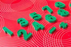 Fridge magnet numbers and maths symbols.Math Number colorful on white background : Education study mathematics learning stock photo