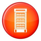 Fridge with refreshments drinks icon, flat style. Fridge with refreshments drinks icon in red circle isolated on white background vector illustration Stock Images