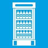 Fridge with refreshments drinks icon white. Isolated on blue background vector illustration Royalty Free Stock Photo