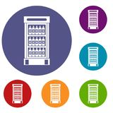 Fridge with refreshments drinks icons set. In flat circle reb, blue and green color for web Stock Photo