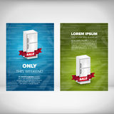 Fridge sale leaflet. Design concept with blue and green backgrounds Stock Photos